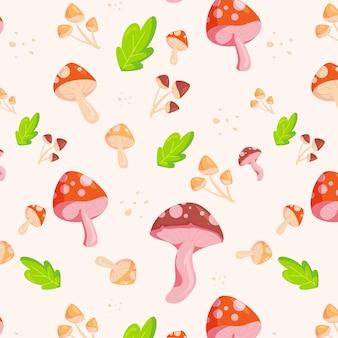 Gravura de padrão de cogumelo desenhado à mão