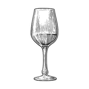 Gravura de vidro vinho ilustração vintage
