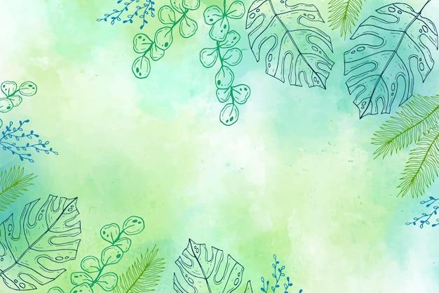 Gravura desenhada à mão com folhas tropicais de fundo de verão
