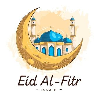 Gravura desenhada à mão eid al-fitr - ilustração de hari raya aidilfitri