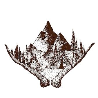 Gravura, desenho, ilustração, de, acampamento, alpinista
