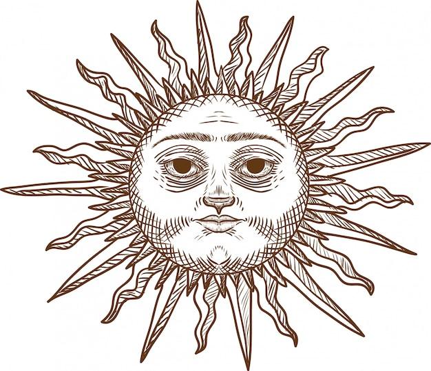 Gravura, desenho, ilustração, de, sol