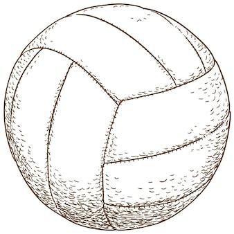 Gravura ilustração de bola de vôlei