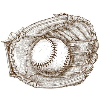 Gravura ilustração de luva de beisebol e bola