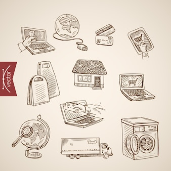 Gravura vintage mão desenhada coleção de compras do mundo online.