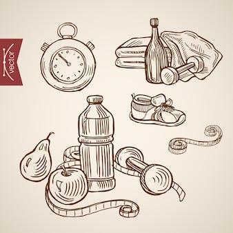 Gravura vintage mão desenhada cuidados de saúde com coleta de alimentos esporte e eco.
