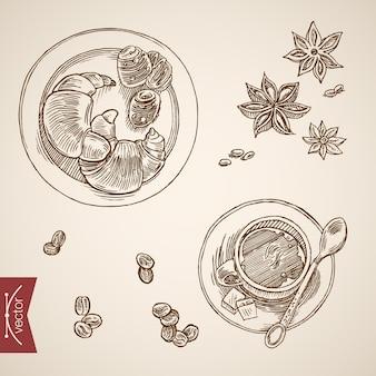 Gravura vintage mão desenhada francês pequeno-almoço com croissant e coleção de café.