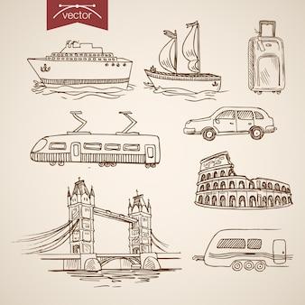 Gravura vintage mão desenhada navio, carro, barco, transporte de trem