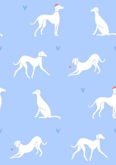 Grayhound em diferentes poses cão silhuetas em azul romântico padrão sem emenda estilo francês