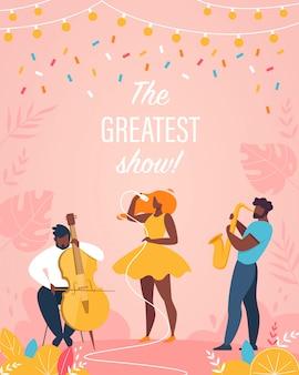 Greatest show vertical poster execução de banda de jazz