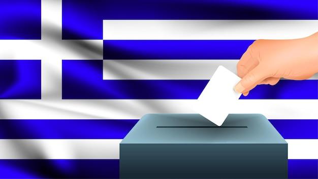 Grécia sinaliza uma mão masculina que vota com fundo de bandeira da grécia