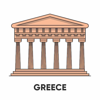Grécia, templo de apolo, ilustração de contorno