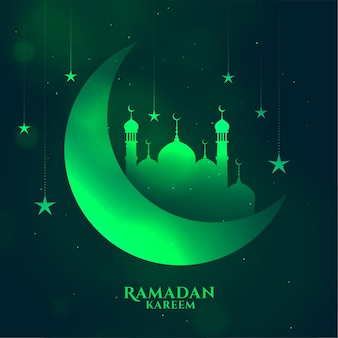 Greem ramadan kareem fundo brilhante com lua e mesquita