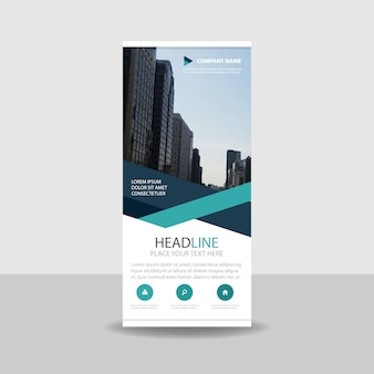 Green criativo roll up banner template