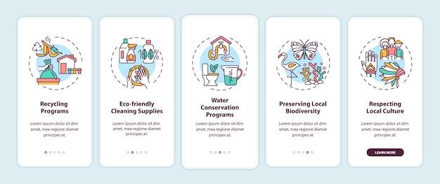 Green hotel apresenta tela de página de aplicativo móvel de integração com conceitos