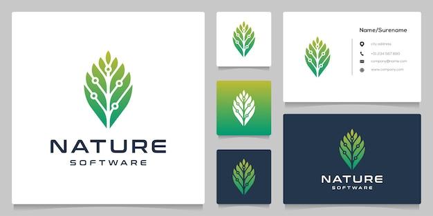 Green leaf com tecnologia de software de circuito ideia de design de logotipo