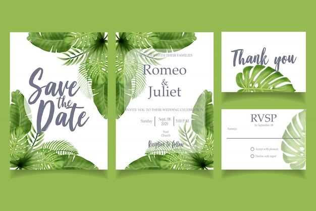 Green leaf watercolor invitation modelo floral de cartão de festa de casamento