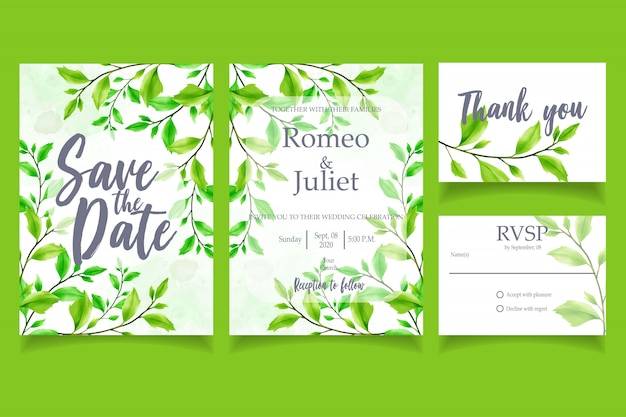 Green leaf watercolor invitation modelo floral de cartão de festa de casamento