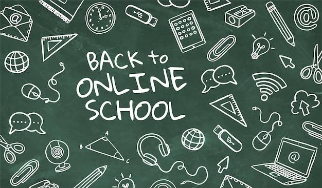 Greenboard de volta à escola online com elementos desenhados à mão