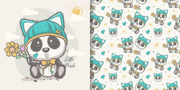Greeting card cute cartoon panda com padrão sem emenda