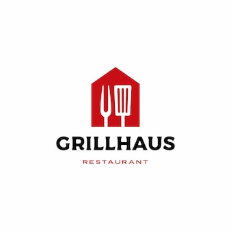 Grelha casa garfo espátula logotipo icon ilustração