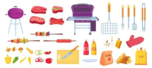Grelha e churrasco dos desenhos animados. carnes grelhadas, salsichas e vegetais. utensílios de cozinha, grelha, faca e espeto. conjunto de vetores de festa piquenique para churrasco. equipamentos para grelhar, utensílios de cozinha