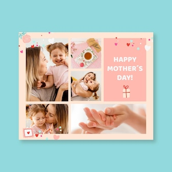 Grelha fofa colagem de fotos do dia das mães