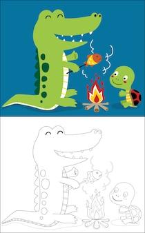 Grelhar peixe com crocodilo e tartaruga