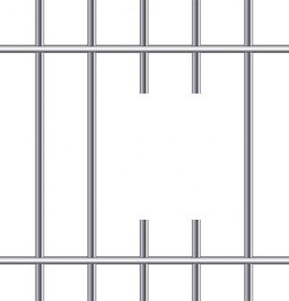 Grelhas de prisão de metal realista. cela de ferro.