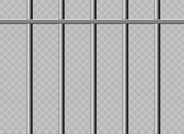 Grelhas de prisão de metal realista. isolado em um fundo transparente.
