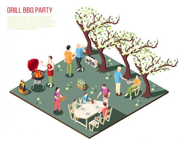 Grelhe a composição isométrica de festa de churrasco com grandes membros da família descansando ao ar livre com descrição de texto editável