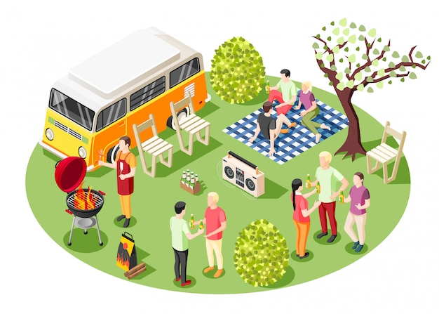 Grelhe a composição isométrica de festa para churrasco com um grupo de pessoas fazendo festa de bagageira de churrasco ao ar livre perto de minivan