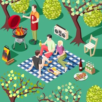 Grelhe a ilustração isométrica de festa de churrasco com um grupo de jovens amigos descansando na paisagem selvagem