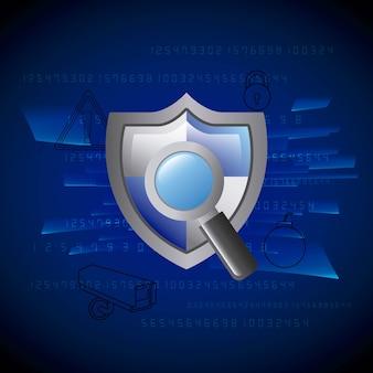 Grey shield protection lupa tecnologia segurança privacidade