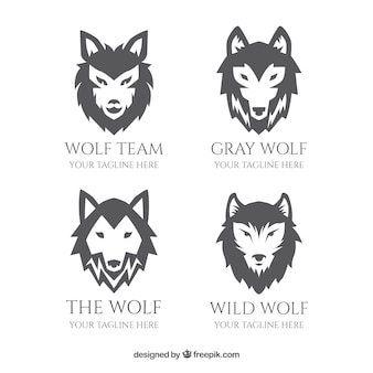 Greyscale flat design lobo logo collectio