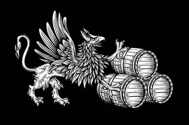 Grifo e barril de madeira mão desenhada ilustrações de estilo de gravura