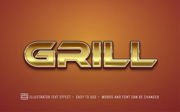 Grill 3d ouro - estilo de efeito de texto editável