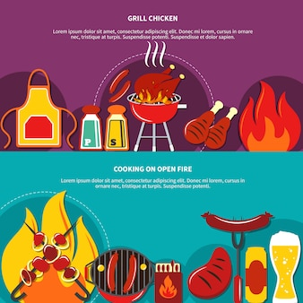 Grill chiken e cozinhar no fogo aberto plano