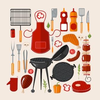 Grill churrasco conjunto de elementos. comida grelhada com ferramentas de cozinha