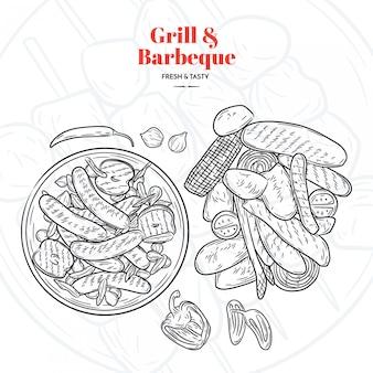 Grill e churrasco mão desenhados elementes