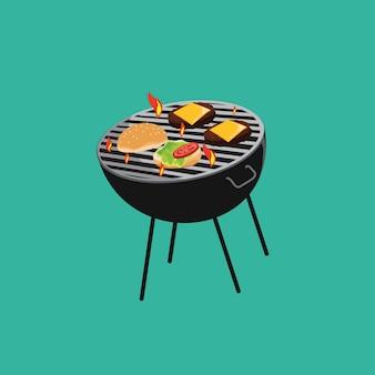 Grill hambyrger vetor.
