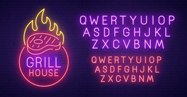 Grill house sinal de néon