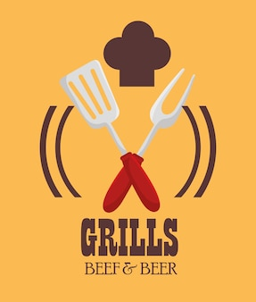 Grills menu beer beer design isolado