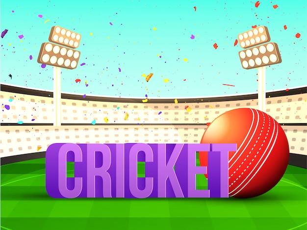 Grilo de texto 3d com bola de críquete