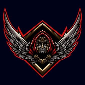 Grim reaper com asa logo mascot illustrator
