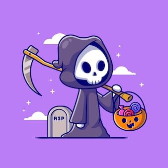 Grim reaper fofo segurando a ilustração de ícone dos desenhos animados de cesta de doces. conceito de ícone de férias de pessoas isolado. estilo flat cartoon