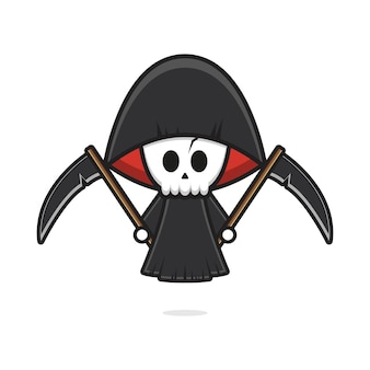 Grim reaper fofo segurando foice halloween cartoon icon ilustração. projeto isolado estilo cartoon plana
