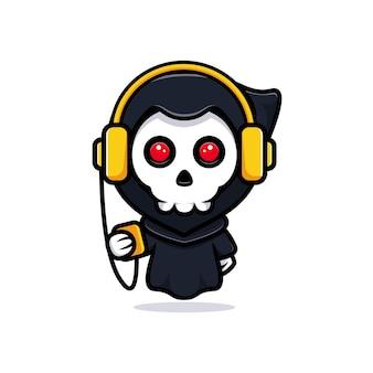 Grim reaper ouvindo música. bonitinho