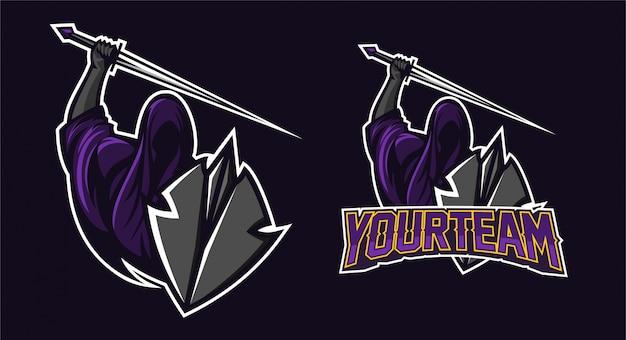 Grim reaper segurando espada e escudo mascote logotipo design