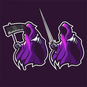 Grim reaper segurando o modelo de logotipo de mascote de jogos de foice / espada esport